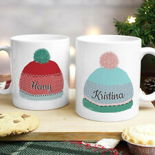 Personalised Woolly Hats Mug Set Christmas Gift For Couples Names and Message