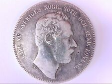 1870 S T Carl XV Sveriges 4 Riksdaler Riksmynt Silver Coin. RARE! BUY NOW!!
