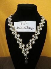 Halskette Perlen, Magnetverschluss, Glitzerperle, Handarbeit