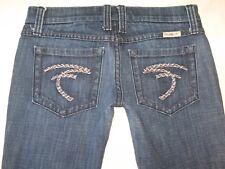 Frankie B Jeans Silver Braided F Pockets Low Flare Distressed Sz 2