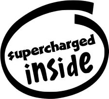 """Supercharged Inside JDM Decal Sticker Car Truck Window- 6"""" Wide White Color"""