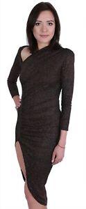 Brown, Glitter, Slim Fit, High Split, Asymmetric Neck Midi Dress By John Zack