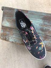 Vans Of The Wall Black Floral Canvas Unisex Mens 6 WM 7.5 Shoes Casual Kicks
