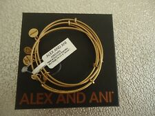 Alex and Ani SET OF 3 Rafaelian Gold Finish Wire Bangles New W/ Tag Card & Box