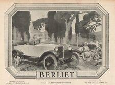 Y7306 Voiture BERLIET - Pubblicità d'epoca - 1924 Old advertising