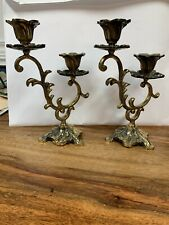 Double Brass Candle Sticks 7 Inches High 51/2 Inches Wide