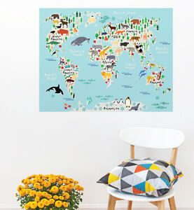 Kids Animal Fun World Map Wall Sticker Bedroom Hipster Cool Kids MS409PC