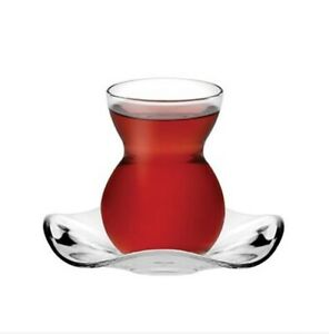 Pasabahce 12 Pieces Curved Glass Traditional Turkish Tea Cup and Saucer Set New