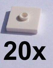 LEGO 20x White Tile 2 x 2 with One Nob Nob (87580) NEW / Tiles
