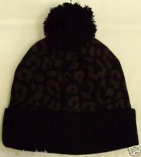 LEOPARD CHEETAH PRINT PATTERN BLACK WARM KNIT BEANIE POM SKULLY SKI CAP HAT OS