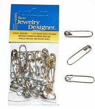 "SP117d Silver 1-1/8"" Coiless French Safety Pin For Beads, Crafts & Jewelry 40pc"