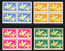 N. VIETNAM 1976 SC # 806-807+854-855 ORCHID COMPLET SET OF 4 IN BLOCK 4 MNH, .