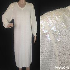 Vintage Sweater Dress Gown Cream White Sz Lg Full Length Sequin 70's 80's Disco