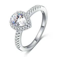 Fashion Silver Plating Large Teardrop AAA CZ Engagement Rings For Girls Size #O