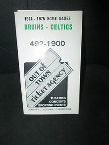 BOSTON BRUINS/ CELTICS/PATRIOTS 1974-1975 OUT OF TOWN TICKETS SCHEDULE
