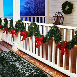 9FT Christmas Garland With Lights Fairy Bushy Pine Xmas Fireplace Stairs Door AU