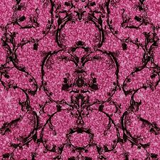 Baroque Scroll Hot Pink Sparkle Textured Vinyl Wallpaper by Muriva 701347