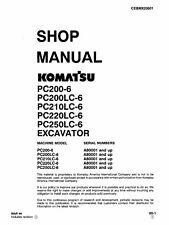 Komatsu PC200-6 PC200LC-6 PC210LC-6 Excavator Service Shop Manual in ring binder