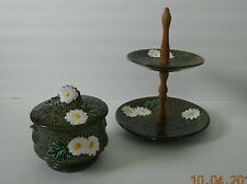 Vintage Rossini Japan Ceramic Cookie Jar & 2-Tier Dessert Plate Daisies