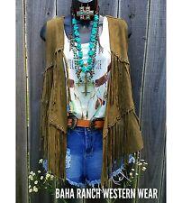 Cowgirl Gypsy DUSTER FRINGE VEST OLIVE HIPPIE Rocker boho nwt XL