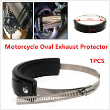 Universal Motorcycle Bikes Oval Exhaust Protector Can Cover Black 100mm-140mm 1x