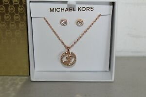 NWT & BOXED MICHAEL KORS GOLD TONE PAVE MK NECKLACE & STUDS EARRINGS MKJ7655