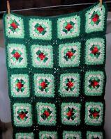 Vtg Handmade Granny Square Crochet Blanket Afghan Throw 75 x 27 Greens Reds