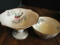 2 Pieces Lenox Serenade Small Bowl and Footed Compote