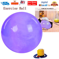 Blue Yoga Pilates Ball 65cm Soft Ball for Gym Fitness Core Exercise With Pump