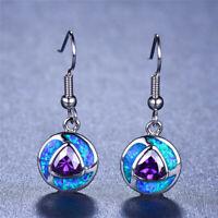 Fashion Round Blue Fire Opal Amethyst Earrings 925 Silver Women Wedding Jewelry