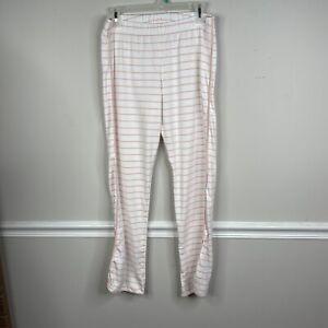 LAKE Pajamas Women's Large Pima cotton Bottoms lounge pants peach Stripe pjs