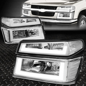 [LED DRL]FOR 04-12 COLORADO CANYON CHROME / CLEAR CORNER HEADLIGHT BUMPER LAMPS