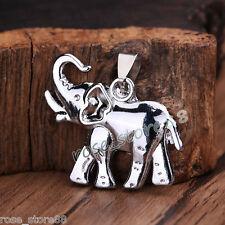 Hot Beauty Unisex's Men Silver Stainless Steel Elephant Pendant Necklace Jewelry