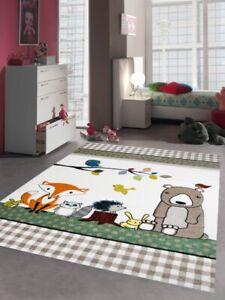 Kinderteppich Spielteppich Babyzimmer Teppich Tiere Bär Fuchs Igel Eule Beige Br