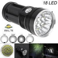Brightest 5400LM 18x CREE XM-L T6 LED 4 Modes 18650 Flashlight Aluminum Torch