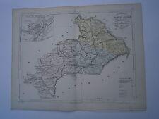 Carte 19° 1852  couleur atlas Malte brun Département Hautes Alpes plan de Gap