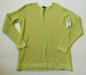 EILEEN FISHER WAFFLE TOP LONG SLEEVE WOMENS SIZE PP / PTP LIME GREEN NEW **Z9