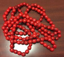 Primitive Wooden Red Beaded 9' Christmas Tree Garland Cranberry Color