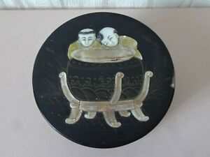 Antique Chinese? Japanese? Lacquered Carved Mother Of Pearl Box