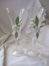 Cristal D'arques toasting flute pair lead crystal wedding decorated white rose