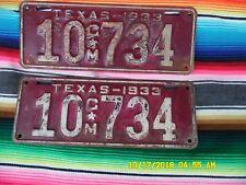 1933  TEXAS  TRUCK   LICENSE  PLATES   10CM734