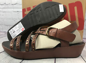 New FitFlop Women's Naia Rockstud Cognac Leather Back-Strap Sandals Size 11 NWB