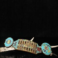 "7.3"" Collect China Cloisonne Enamel Bronze Animal Bat Ruyi Abacus Counting Frame"