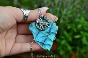 MESMERISING BLUE Flash Labradorite + Sterling Silver Wolf Pendant on Chain OOAK