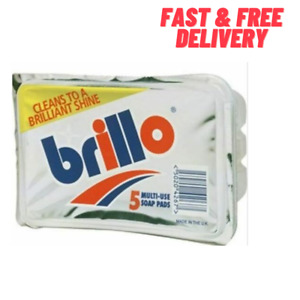 Mr Muscle Brillo 5 Multi Use Steel Wool Soap Pads 5 pack - FAST & FREE DELIVERY