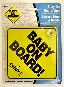 Safety 1st Baby On Board Sign Yellow Brand New In Package With Suction Cup 2004