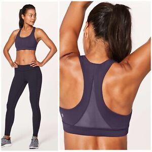 Lululemon Invigorate Sports Bra Size 4 Purple Mesh Back Workout Top