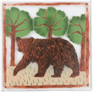 "Bear 7"" Square Trivet Fusion Art Glass New Wild Animals Woods Trees"