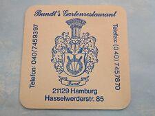 BEER Coaster ~*~ Brauerei HOLSTEN <> Hamburg, GERMANY ~ Bundt's GartenRestaurant