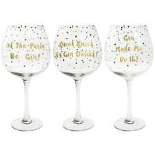 """Leonardo Collection Gin Glass Gift """"Gold Edition"""" 'FUNNY GIN' Quotes"""